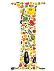 """Letter """"I"""" made of fruit and vegetable"""