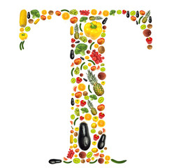 "Letter ""T"" made of fruit and vegetable"