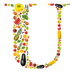 "Letter ""U"" made of fruit and vegetable"