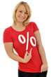 Frau mit Sale-Shirt