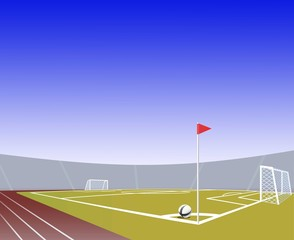 Soccer  field realistic with low point of view. Vector.