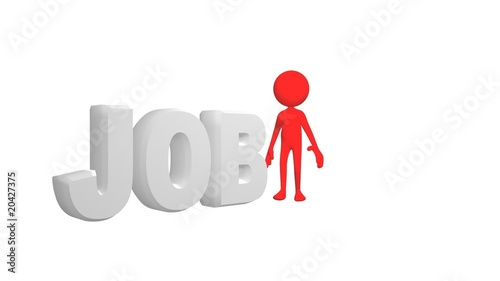Red 3D man showing the concept of job