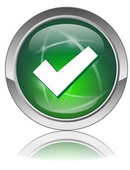TICK Web Button (Green OK GO Positive Agree Approved Vector Orb)