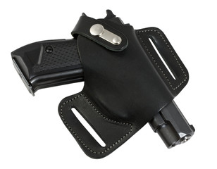 Automatic pistol in holster black color.
