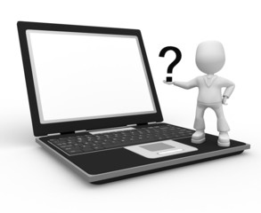 question and laptop