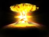 explosion champignoàn atomique dans la galaxie poster