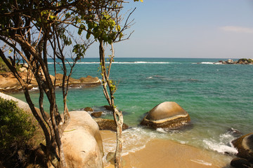 Caribbean beach with tropical forest. Tayrona National Park