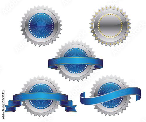 Silver Blue Medallions