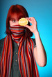 Chill girl in scarf keep lemon instead of eye
