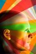Male portrait and color spectrum. 3d illustration.