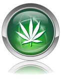 MARIJUANA Web Button (Green Cannabis Leaf Drugs Addiction Sign) poster