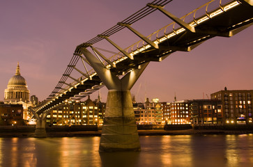 Millennium Bridge and St. Paul's Cathedral, London