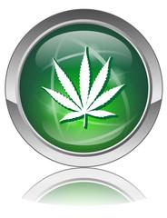 MARIJUANA Web Button (Green Cannabis Leaf Drugs Addiction Sign)