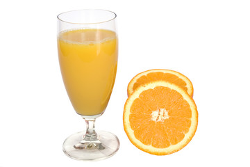 fresh orange juice on white
