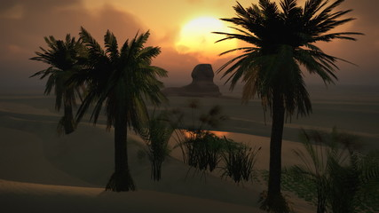 (1150) Egyptian Sphinx Desert Sandstorm Oasis Sunset Clouds LOOP