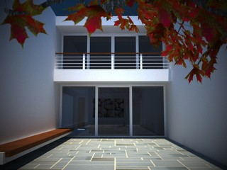 Modern house courtyard