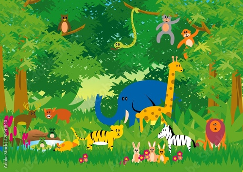Plexiglas Bosdieren Jungle in Cartoon