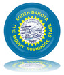 South Dakota Round Flag Button (Dakotan State Vector Reflection)