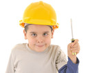 Little kid as a construction worker, with screwdriver