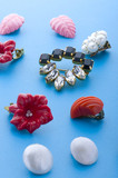 jewel brooch and earring close up poster