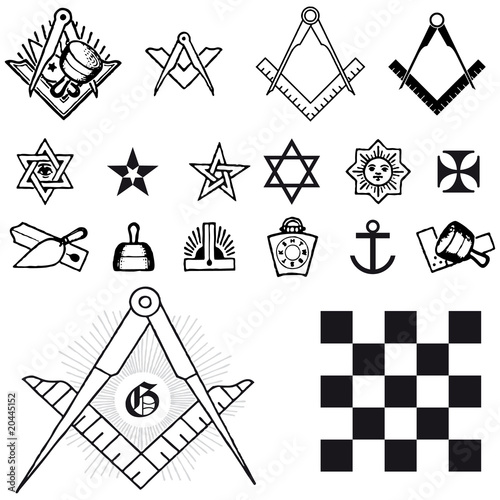 Set of symbol freemason masonic mason