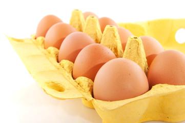 Ten eggs in yellow box