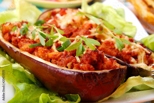 aubergine stuffed with mince meat