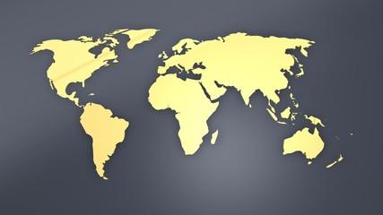 Weltkarte goldig