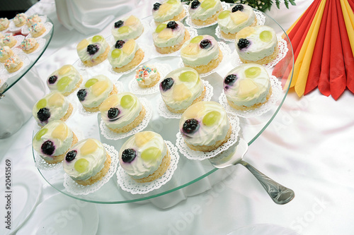 Jelly cakes on plate