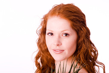 Serene girl with red hair