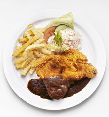 fried chicken chop with side dishes