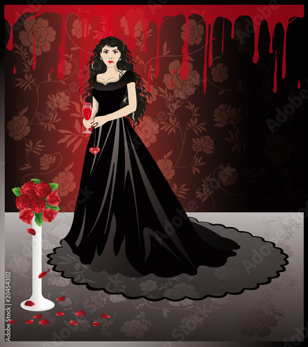 Beautiful girl vampire with a blood glass. vector