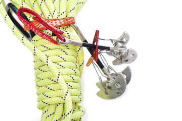 Camming device and rope for rock climbing