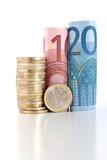 euro monete e banconote arrotolate poster