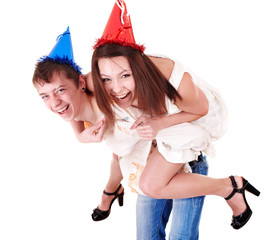 Group people in party hat. Isolated.