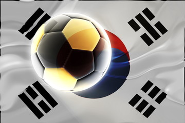 Flag of South Korea wavy soccer