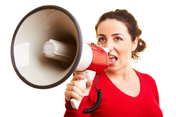 Woman making announcement with megaphone