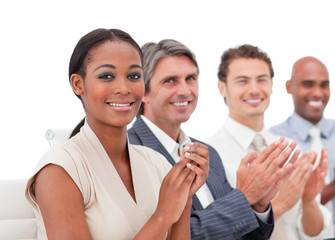 International business people applauding a presentation