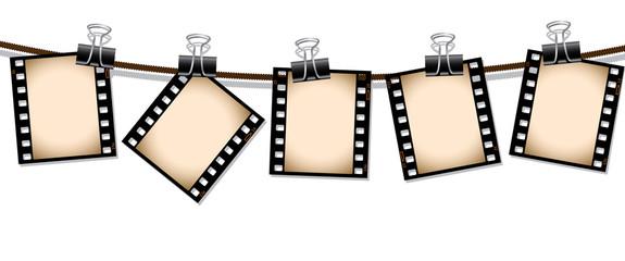 Row of sepia film negatives