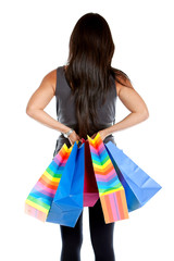 Rear view of a shopping woman