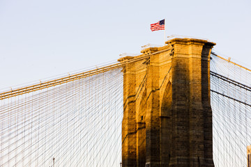 detail of Brooklyn Bridge, Manhattan, New York City, USA