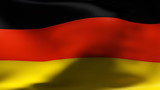 Creased German cotton flag with visible stitch in slow motion poster