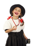 Satisfied smiling little girl with red lipstick poster