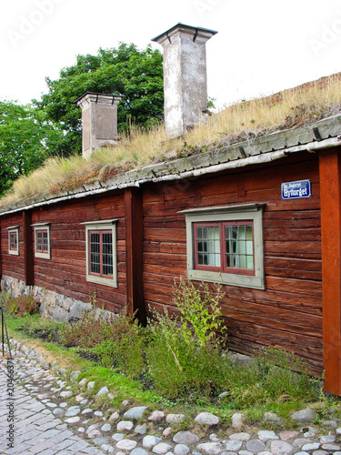 red cabin with a green roof (Stockholm, Sweden)