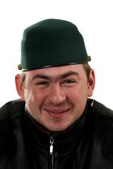 Portrait of funny happy man in hat
