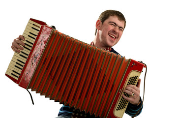 Funny man sing and play on accordion