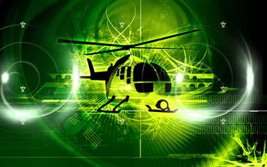 Illustration of a helicopter in air