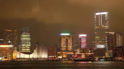 Tsim Sha Tsui. Hong Kong Cityscape Timelapse at Night.