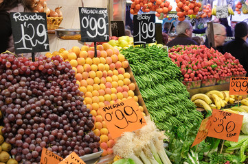 Fresh fruits on market stall together with prices