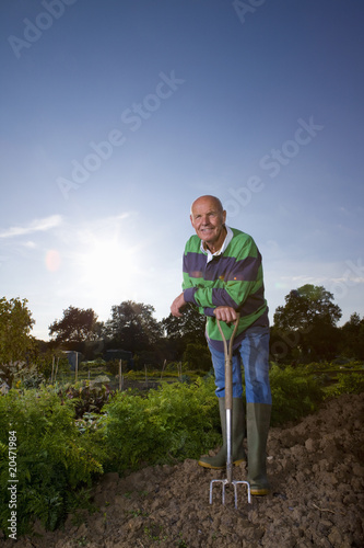 Man digging in garden